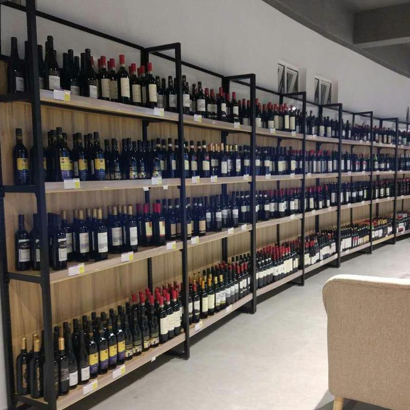 靠墙红酒柜 超市红酒展柜 超市酒